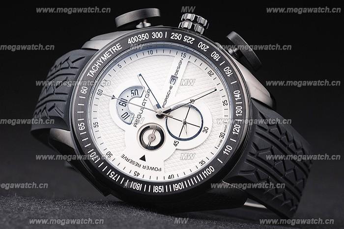 Porsche Regulator Power Reserve Black Case White Dial Best Designer Replica Review